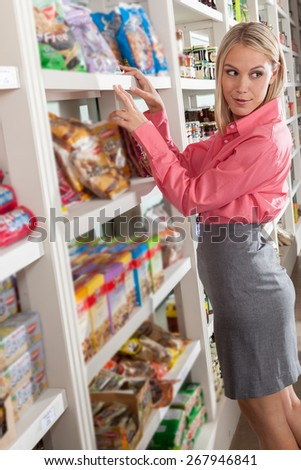 Woman shopping food