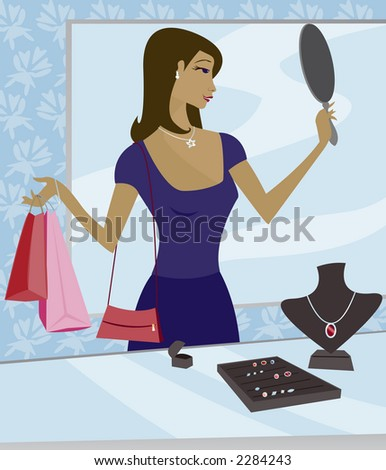Woman shopping for jewelry in a boutique - using a mirror to try on a necklace - stock photo
