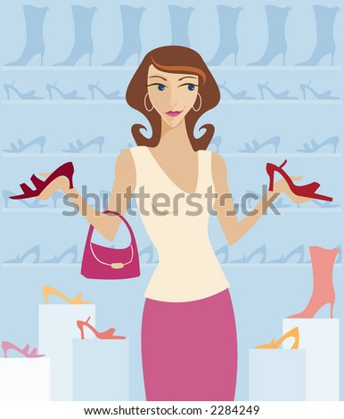 Woman shopping in a boutique, surrounded by cute shoes! - stock photo