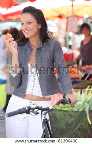 woman shopping, on the market - stock photo