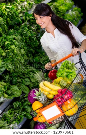 Woman shopping organic groceries at the supermarket - stock photo