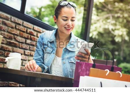 Woman Shopping Outdoor Mobile Phone Concept - stock photo