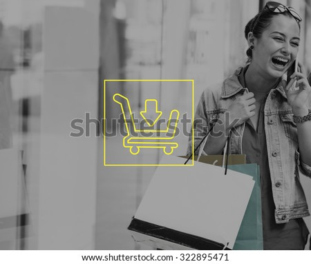 Woman Shopping Outdoors Store Lifestyle Concept - stock photo