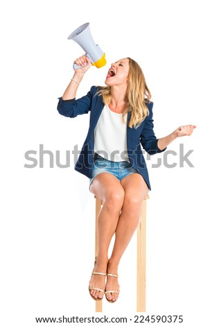 Woman shouting over isolated white background