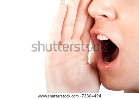 Woman shouting / screaming isolated portrait