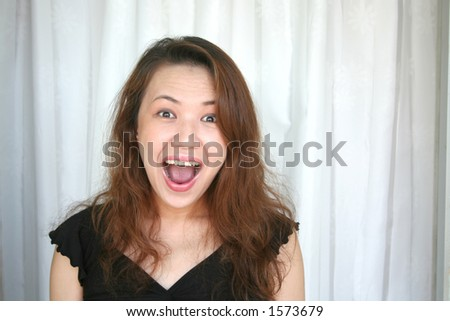 woman shouting with surprizing face expression - stock photo
