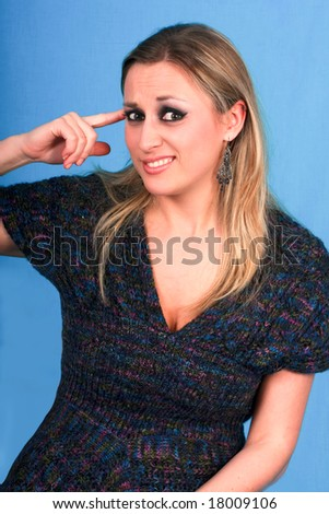 woman show gesture of crazy - stock photo