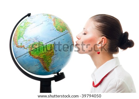 Woman show love to planet kissing the globe,isolated on white