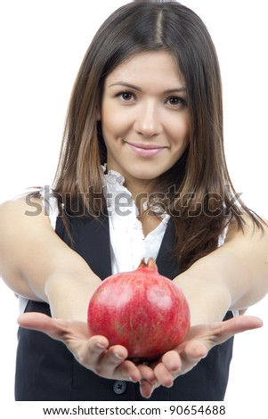 Woman show Pomegranate fruit. Healthy weight loss food concept isolated on a white background