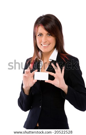 woman showing a card - stock photo
