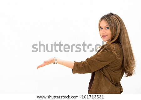 woman showing and presenting copy space isolated on white background - stock photo