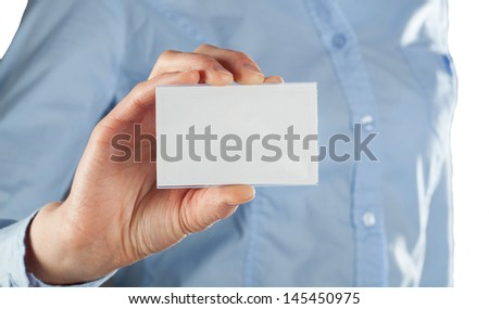 Woman showing blank business card - closeup shot