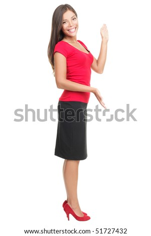 Woman showing copy-space isolated on white background in full body. - stock photo