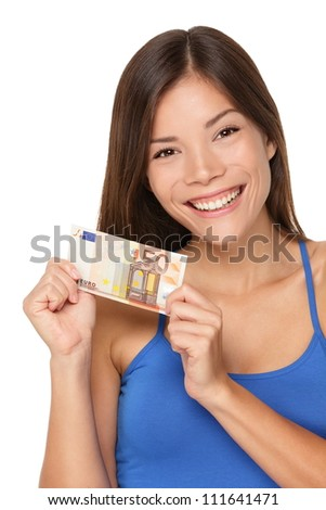 Woman showing euro money 50 bill. Multicultural girl smiling happy and fresh isolated on white background.