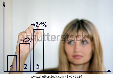 woman showing growth of profit on sales on a white board - stock photo