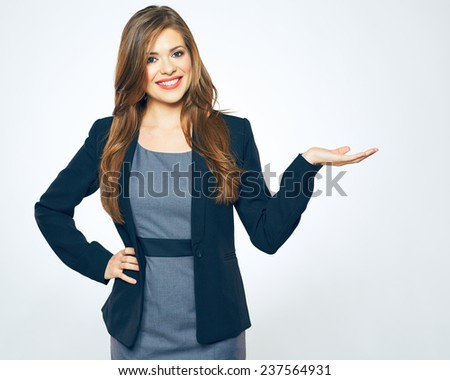 woman showing hand for product advertising. isolated portrait. - stock photo