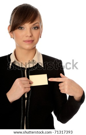 woman showing her badge at the entrance of meeting room - stock photo