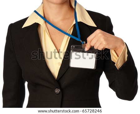 woman showing her id card at the entrance of meeting room - stock photo