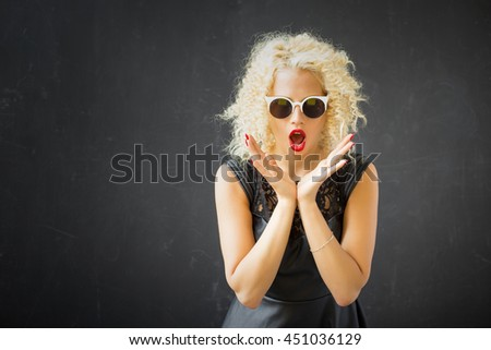 Woman showing her shock