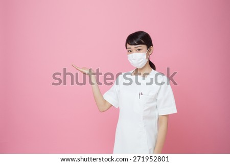 woman showing her suggestion - stock photo
