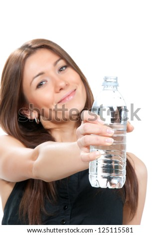 Woman showing or giving bottle of pure still drinking water for diet holding in hand sparkling mineral bottled water isolated on a white background - stock photo