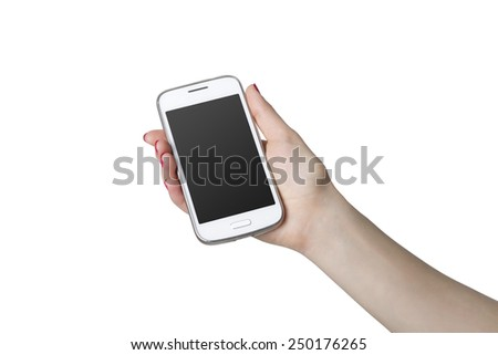 Woman showing smart phone with isolated screen in hand. Isolated on white. - stock photo