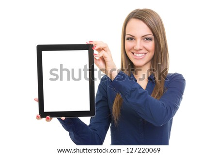 Woman showing tablet computer isolated on white background - stock photo