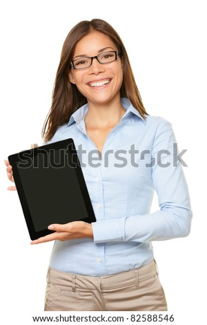 woman showing tablet computer screen smiling wearing glasses isolated on white background. - stock photo