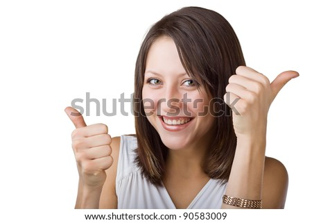 Woman showing thumbs up, isolated on white background - stock photo
