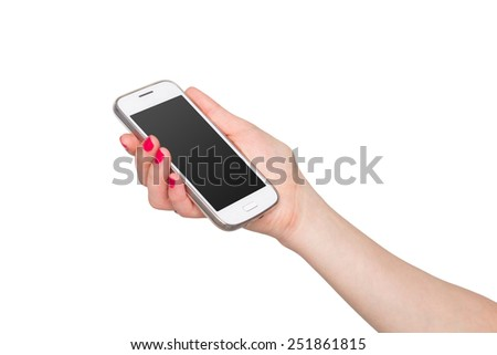 Woman showing white smart phone in hand. Isolated on white background with a pure black screen gradient.