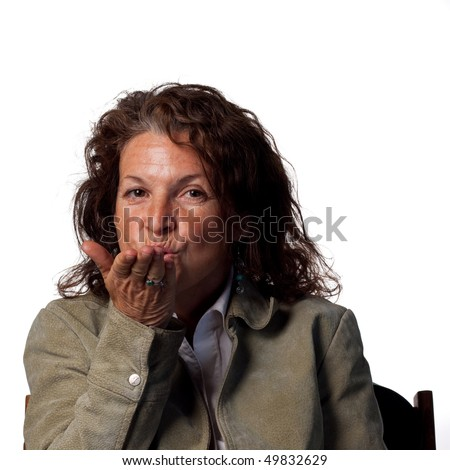 Woman shows affection from a distance - stock photo
