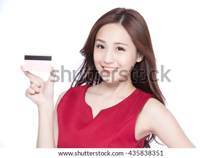 woman shows her credit card