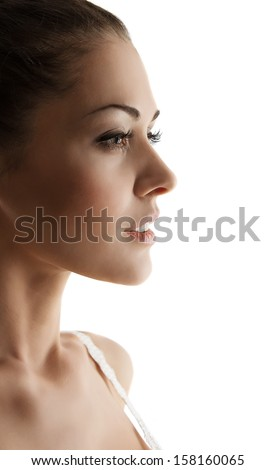 Woman side view portrait with sensual open mouth. Close up white background - stock photo