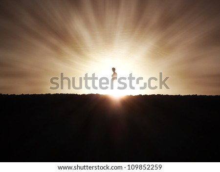 Woman Silhouette at Sunset - stock photo