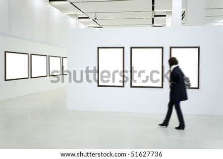 Woman silhouette in the museum interior - stock photo