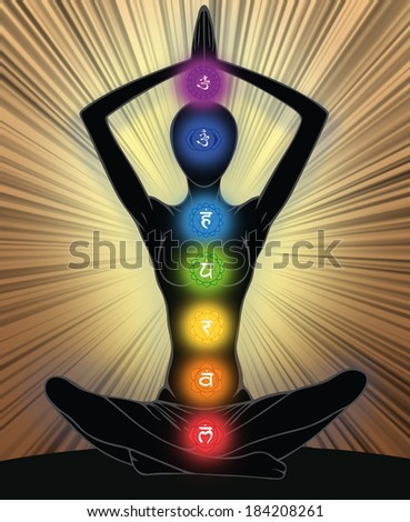 Woman silhouette in yoga position with the symbols of seven chakras  - stock photo