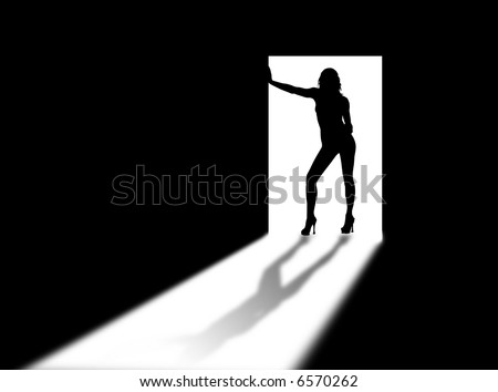 Woman silhouette on the door and in the light