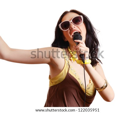 woman singing, isolated on white background