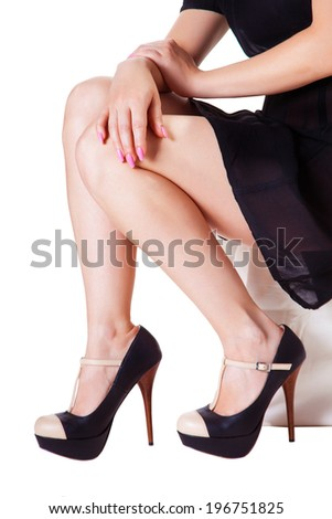 woman sitting, isolated white background