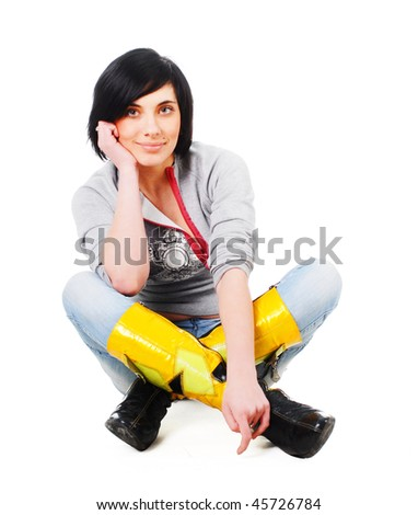 Woman sitting on floor