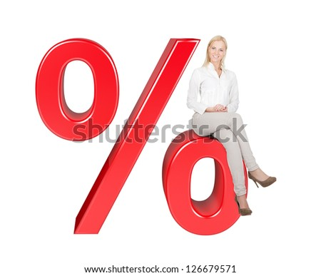 Woman Sitting On % Sale Sign. Isolated On White Background - stock photo