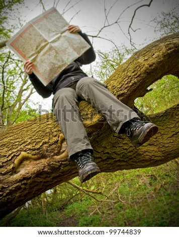 woman sitting on tree branch looking at map - stock photo