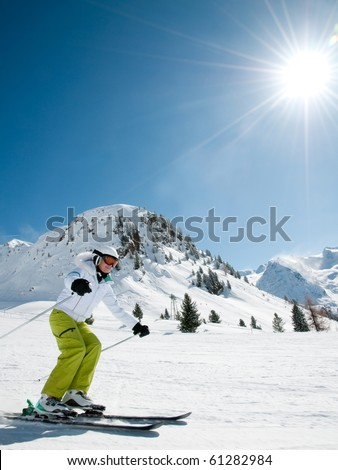 Woman skiing - stock photo