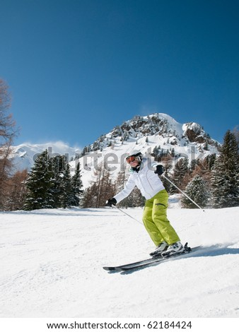 Woman skiing, - stock photo