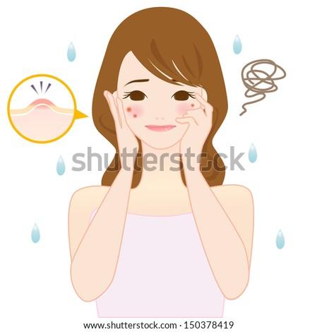 Woman Skin care Illustration - stock photo