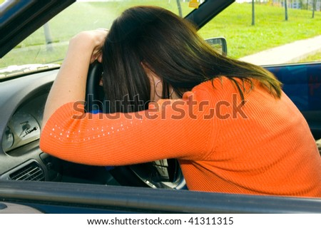 woman sleep in car - stock photo