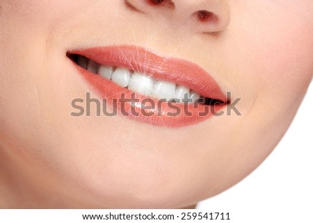 Woman smile, close up