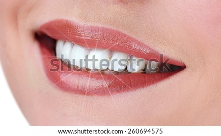 Woman smile close up - stock photo