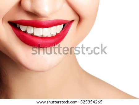 Woman smile closeup, isolated on white background