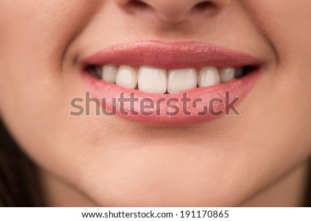 Woman smile. Laughing woman smile with great teeth.